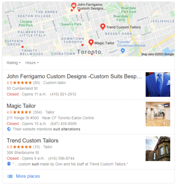 Local SEO Company Toronto - find suit tailor toronto - Google Search